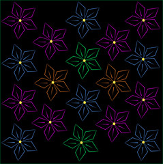 Fluorescent floral pattern