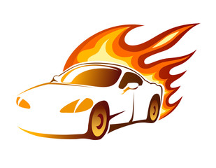 Modern luxury sporty coupe with burning flames