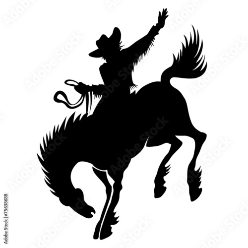 Cowboy at rodeo silhouette - 75638688