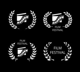 Four Film Festival Symbols and Logos on Black