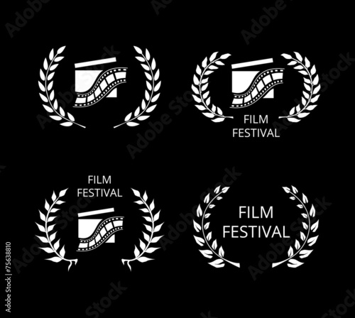 Four Film Festival Symbols and Logos on Black - 75638810