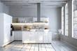 schlichte weiße küche in Altbau Loft Apartment - 75639083