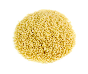 Fresh raw couscous isolated on white background