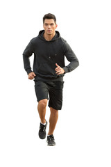 Junger Mann beim  Jogging - freigestellt