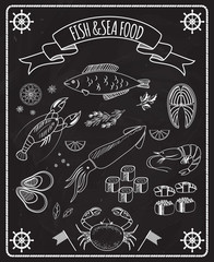 Fish and seafood blackboard vector elements