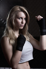 Pretty woman ready for boxing