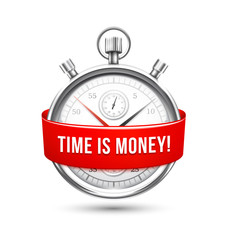 Stopwatch with Red Banner Stating Time is Money