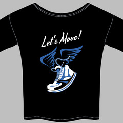 Black T-shirt printed with a winged sneaker