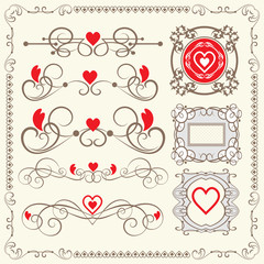 vintage elements for wedding, valentine day