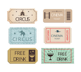 Vintage cinema  circus and party tickets set
