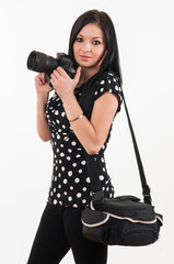young photographer shooting with your camera