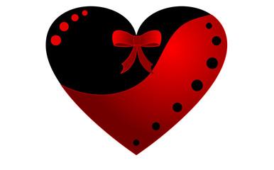 cuore con fiocco rosso e nero