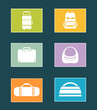 set colorful icons with bags