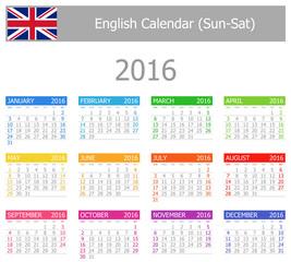 2016 English Type-1 Calendar Sun-Sat