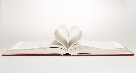 Opened book with sheets in the form of heart