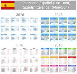 2016 Spanish Mix Calendar Mon-Sun