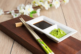 soy sauce, wasabi and chopsticks