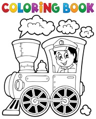 Coloring book train theme 1