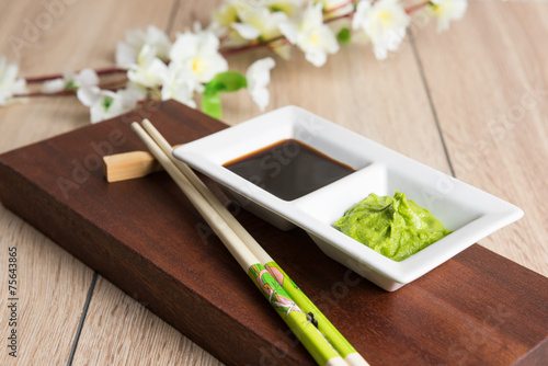 Poster Kruiderij soy sauce, wasabi and chopsticks