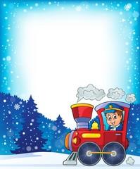 Winter theme with locomotive