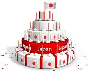 Japanse taart met vlag rood wit