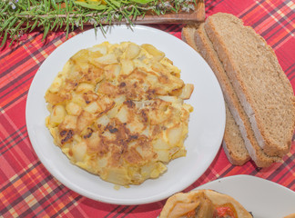Plate with homemade tortilla de patata