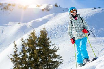 Girl has a fun on ski