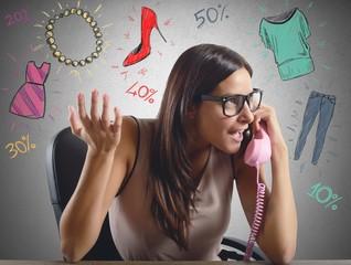 Woman talking about sale