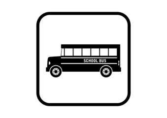 School bus vector icon on white background