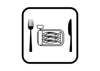 Sardines vector icon on white background