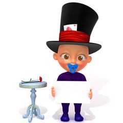 Baby Jake magician 3d illustration