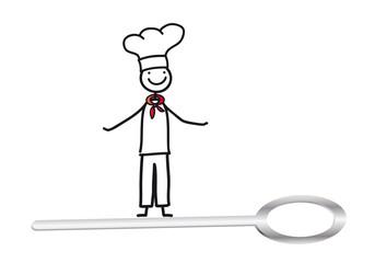 Koch mit Kochlöffel - Strichmännchen