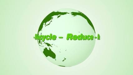 Reduce, Reuse, Recycle text rotating around earth animation