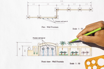 Landscape Architect design Modern wall fountain in asian style.
