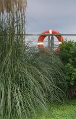 Life saver buoy on a railing