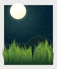 Grass blades and night moon vector illustration