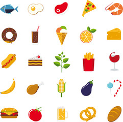 Flat design food and drink vector icons set