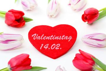 Tulpen um Herz, Valentinstag