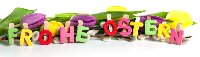 Frohe Ostern Text mit Tulpen Banner