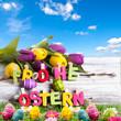 Frohe Ostern auf Birke mit Ostereiern