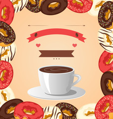 Donuts with cup of coffee on beige background
