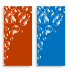 Two bright multicolored leaflets with soap bubbles and space for