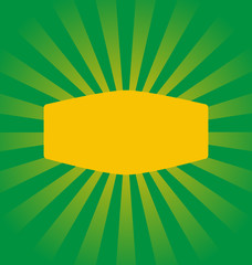 Radial stripes on green background with yellow frame