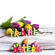 Frohe Ostern auf Birke Hintergrund weiß