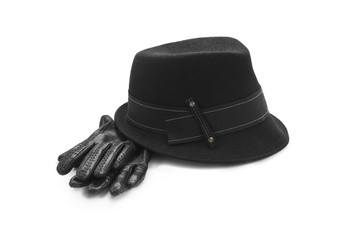 Leather gloves and fancy hat