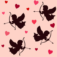 Valentines seamless pattern, angels,cupids with bows,arrows