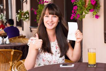 Woman  rejoices invoice amount
