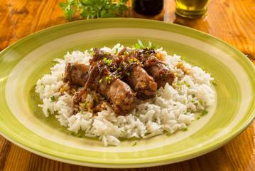 Salsicce e risotto basmati