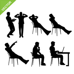 Business man in action silhouettes vector