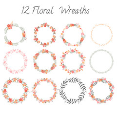Set of floral wreaths